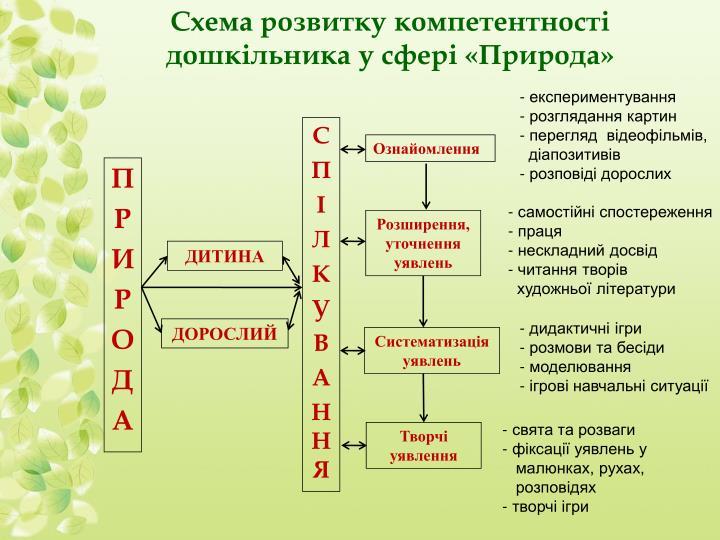Схема розвитку компетентності дошкільника у сфері «Природа»
