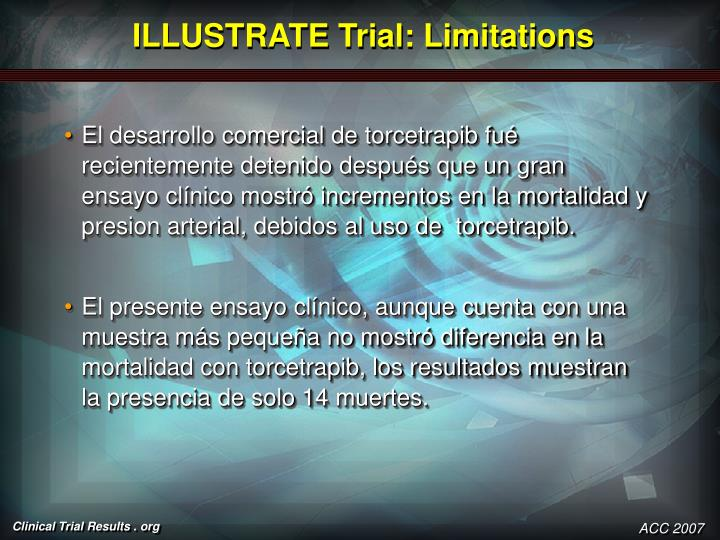 ILLUSTRATE Trial: Limitations