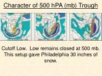 character of 500 hpa mb trough