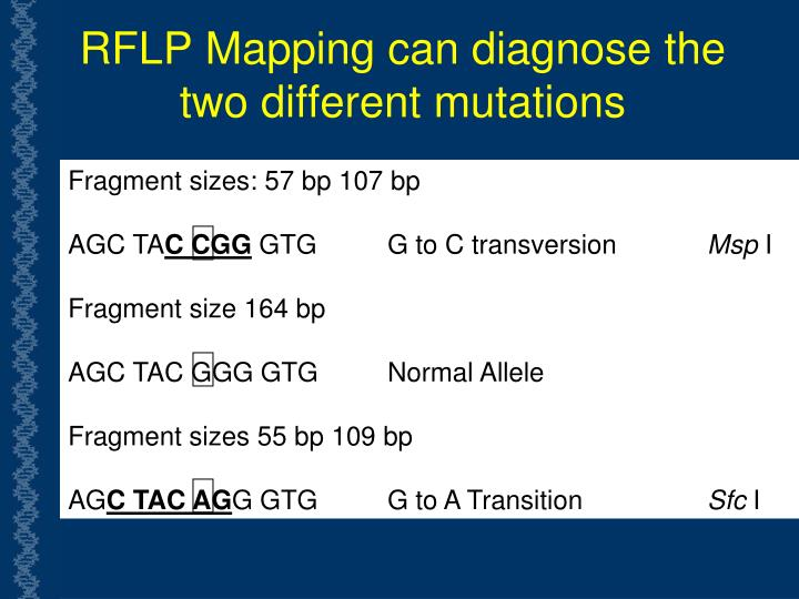 RFLP Mapping can diagnose the two different mutations