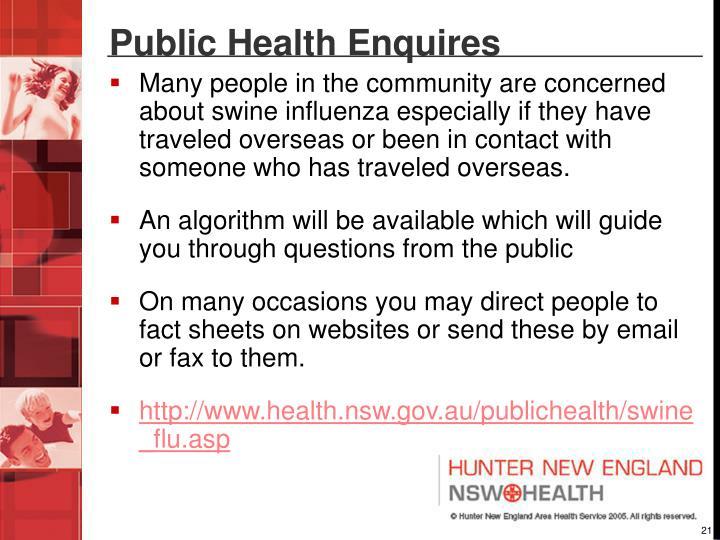 Public Health Enquires