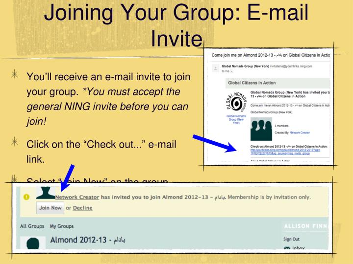 Joining Your Group: E-mail Invite