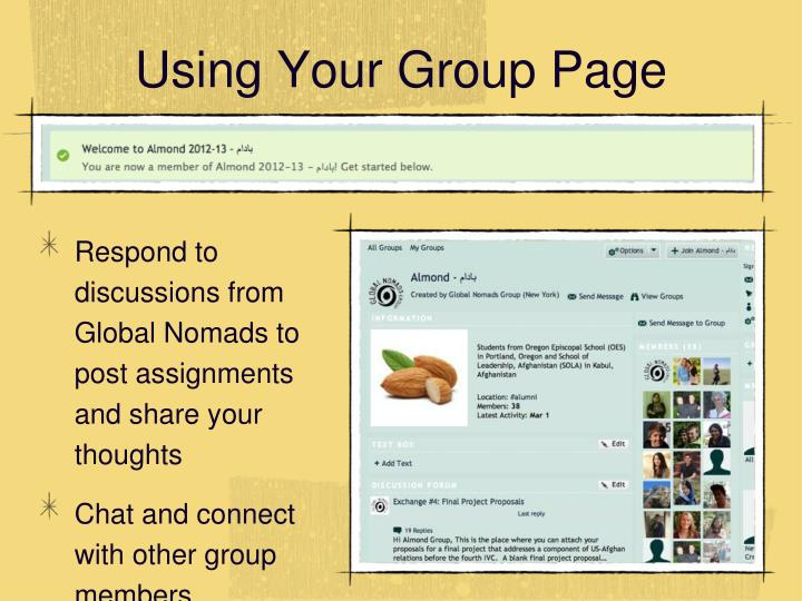 Using Your Group Page