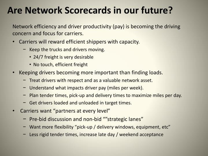 Are Network Scorecards in our future?