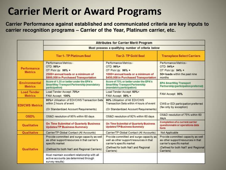 Carrier Merit or Award Programs