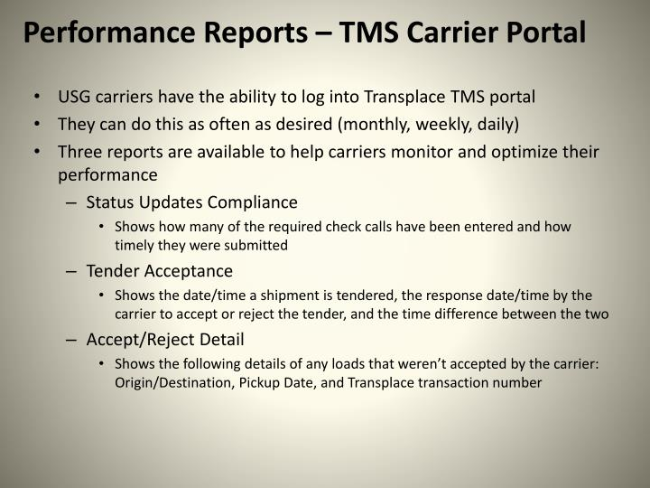 Performance Reports – TMS Carrier Portal