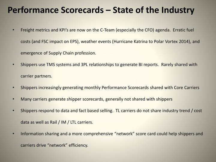 Performance Scorecards – State of the Industry