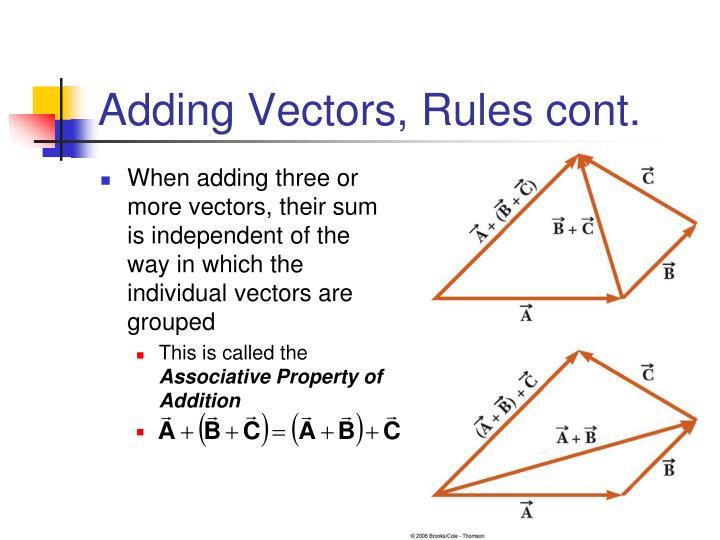 Adding Vectors, Rules cont.