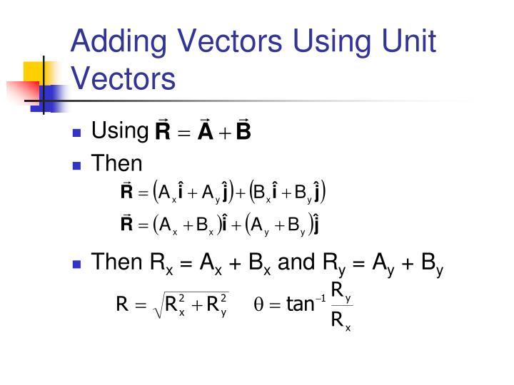 Adding Vectors Using Unit Vectors