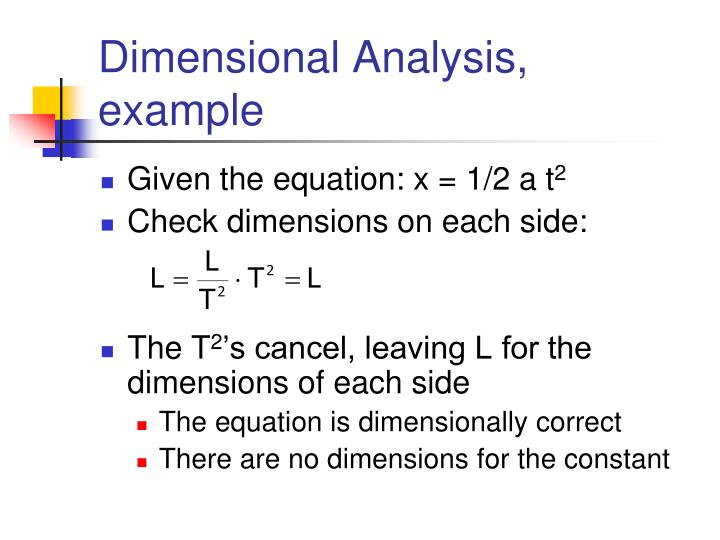 Dimensional Analysis, example