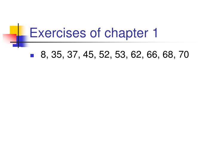 Exercises of chapter 1