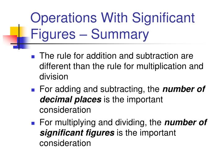 Operations With Significant Figures – Summary