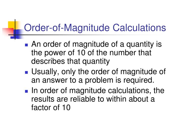 Order-of-Magnitude Calculations