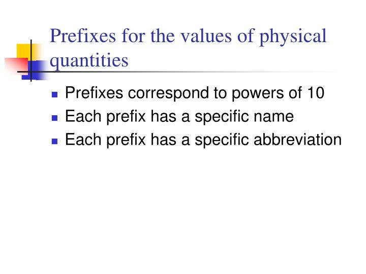Prefixes for the values of physical quantities