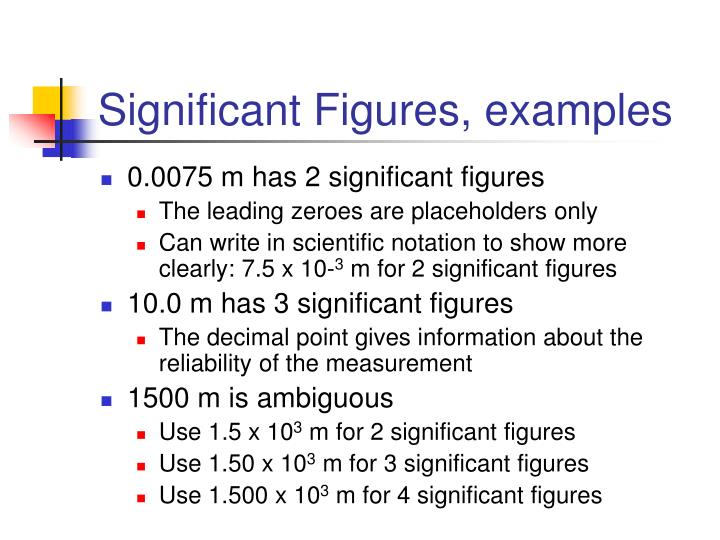 Significant Figures, examples