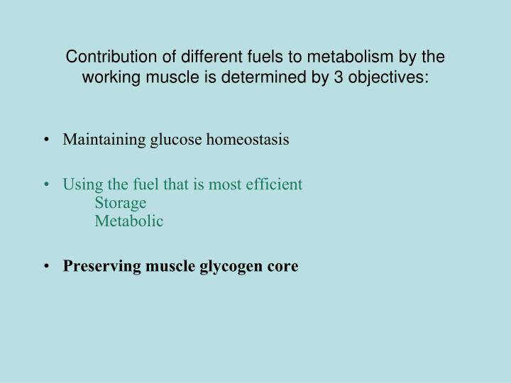Contribution of different fuels to metabolism by the working muscle is determined by 3 objectives:
