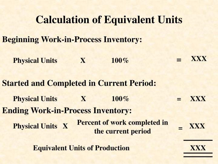 Calculation of Equivalent Units