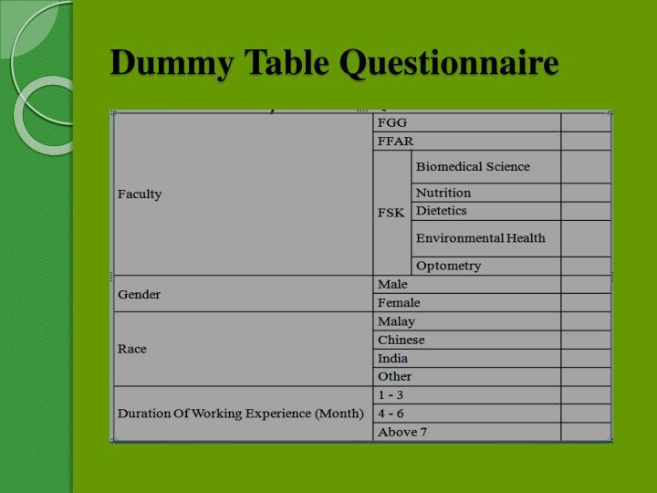 Dummy Table Questionnaire