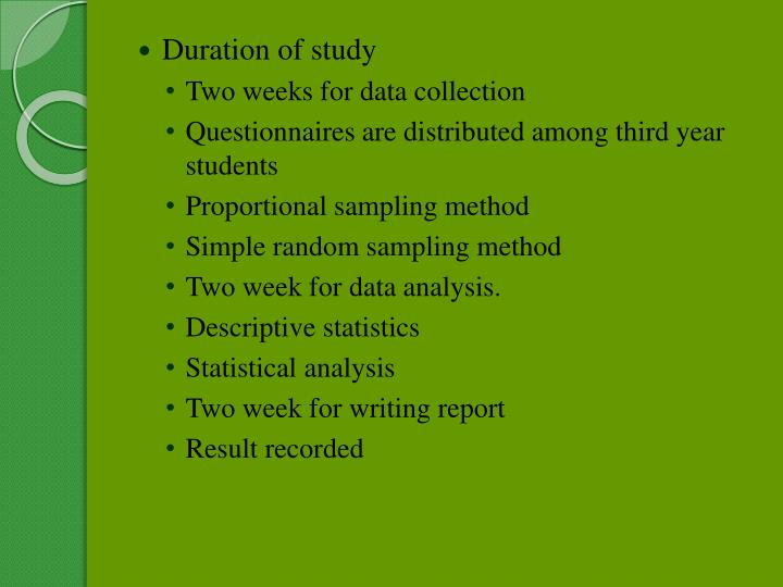 Duration of study