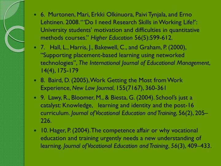"6.  Murtonen, Mari, Erkki Olkinuora, Paivi Tynjala, and Erno Lehtinen. 2008. ""'Do I need Research Skills in Working Life?': University students' motivation and difficulties in quantitative methods courses."""