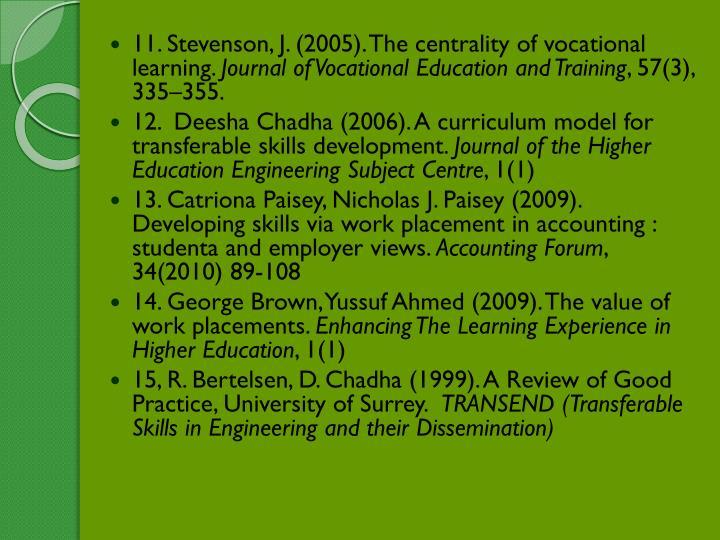 11. Stevenson, J. (2005). The centrality of vocational learning.