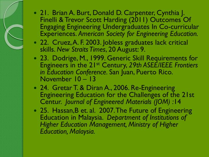 21.  Brian A. Burt, Donald D. Carpenter, Cynthia J. Finelli & Trevor Scott Harding (2011) Outcomes Of Engaging Engineering Undergraduates In Co-curricular Experiences.