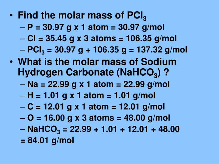 Find the molar mass of PCl
