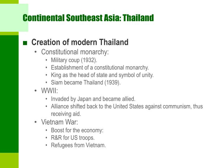 Continental Southeast Asia: Thailand