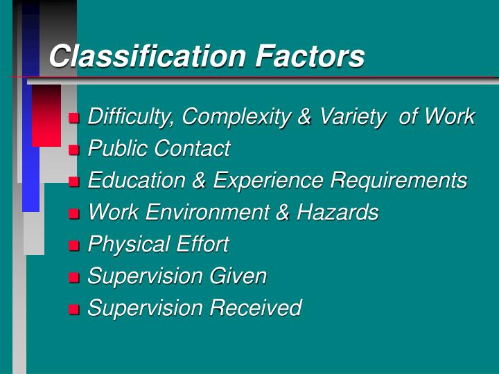 Classification Factors
