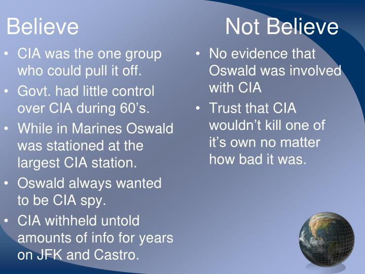 CIA was the one group who could pull it off.
