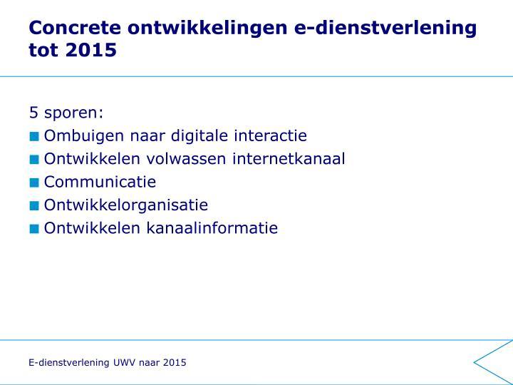 Concrete ontwikkelingen e-dienstverlening tot 2015