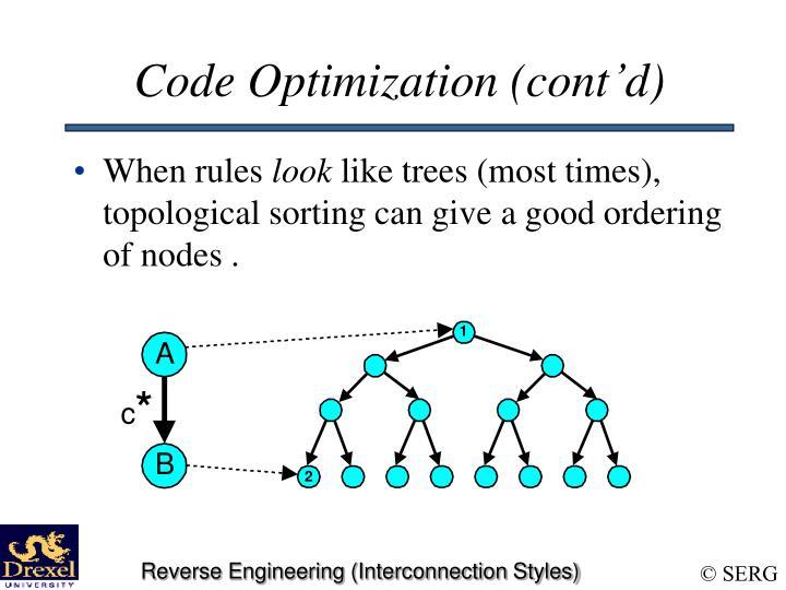 Code Optimization (cont'd)