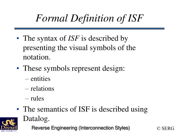 Formal Definition of ISF