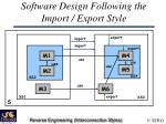 software design following the import export style