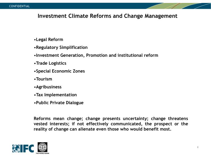 Investment Climate Reforms and Change Management