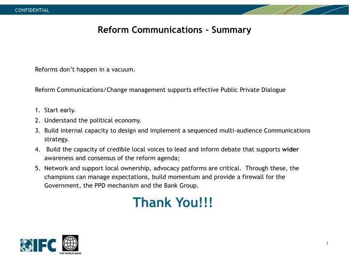Reform Communications - Summary