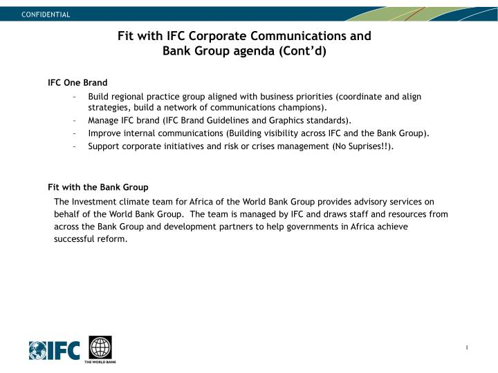 Fit with IFC Corporate Communications and