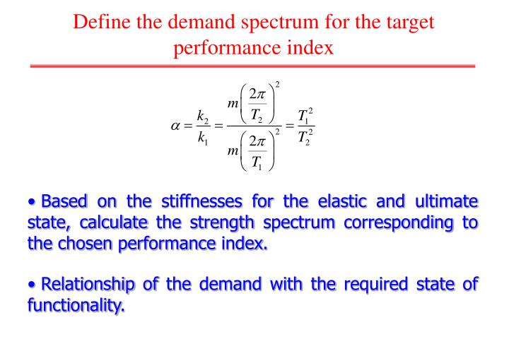 Define the demand spectrum for the target performance index