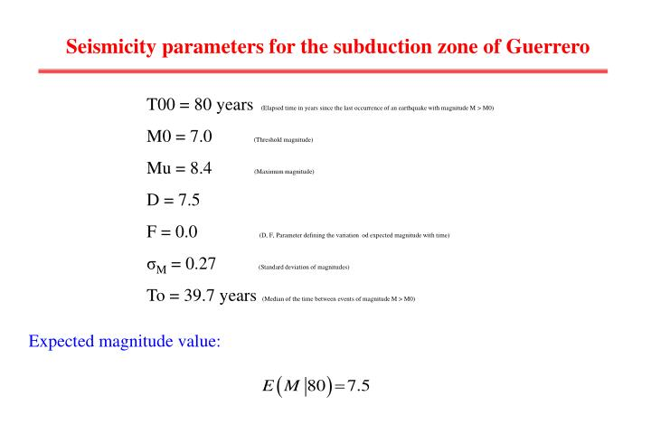 Seismicity parameters for the subduction zone of Guerrero
