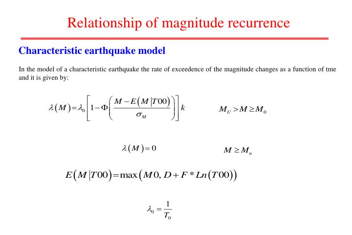 Relationship of magnitude recurrence