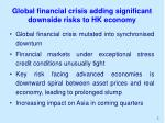 global financial crisis adding significant downside risks to hk economy