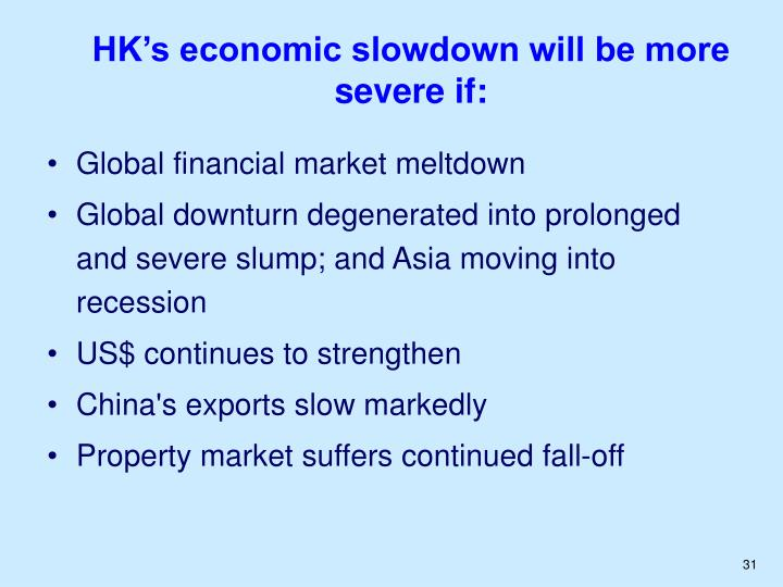 HK's economic slowdown will be more severe if: