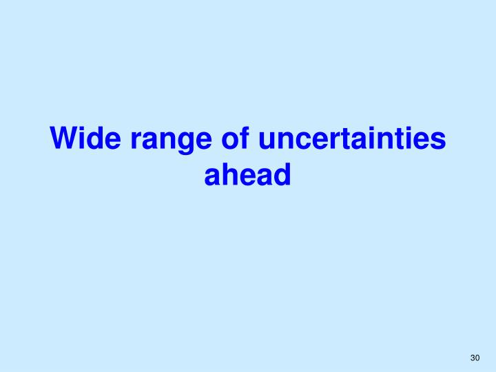 Wide range of uncertainties ahead