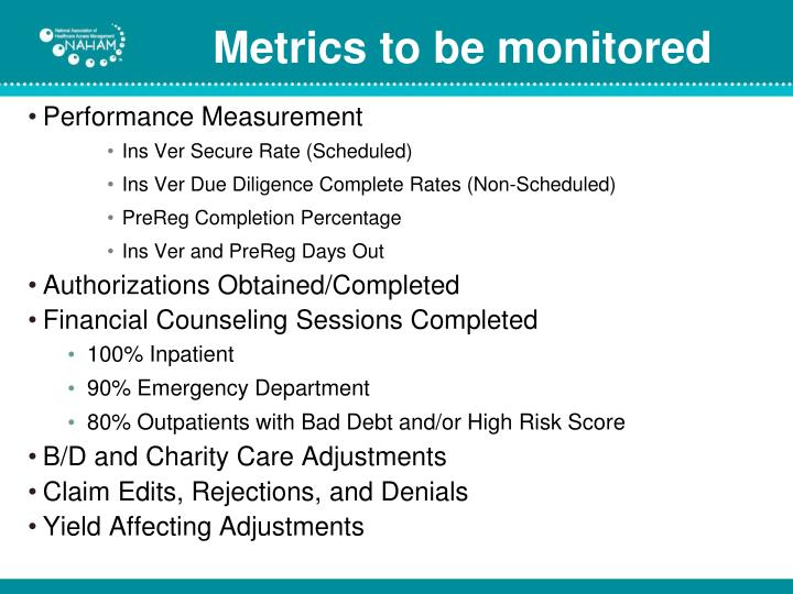 Metrics to be monitored