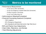 metrics to be monitored
