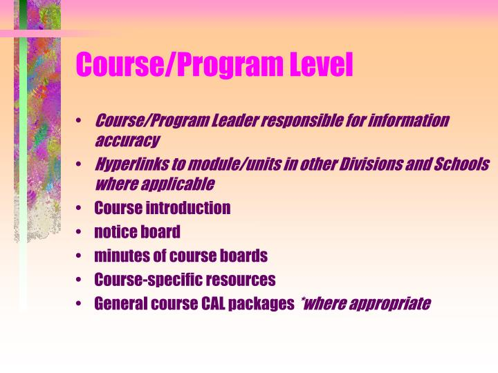 Course/Program Level