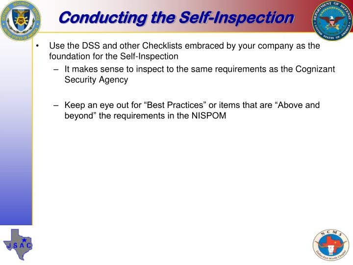 Conducting the Self-Inspection
