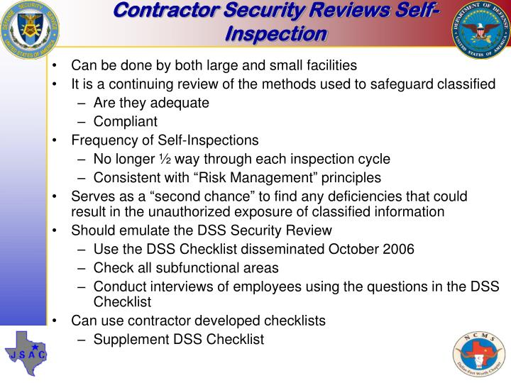 Contractor Security Reviews Self-Inspection