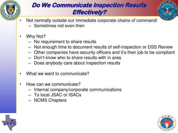 Do We Communicate Inspection Results Effectively?