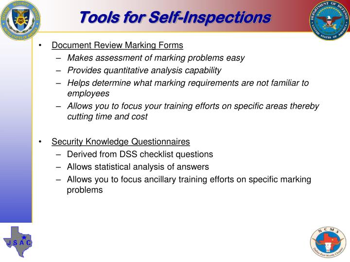 Tools for Self-Inspections